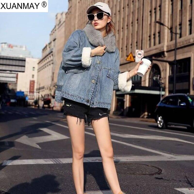 Printemps plus velours rembourré cardigan denim version coréenne col en fourrure Denim veste courte moto vêtements style Denim veste