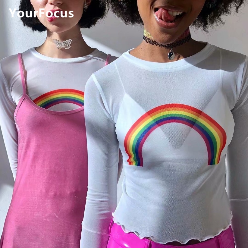 Vintage cute kawaii sweet shirt mesh perspective multicolored rainbow crop tops tshirt women long sleeve tops-in T-Shirts from Women's Clothing on AliExpress - 11.11_Double 11_Singles' Day 1