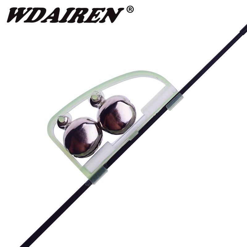 3Pcs/lot Fishing Bite Alarms Alarm Luminous Light Twin Bells Fishing Bite Ring Clip On Fishing Rod New Fishing Equipment WD-151