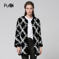 CR074 genuine rabbit fur coat real fur knitted knit long style jacket womens winter warm plus size customized fur out wear