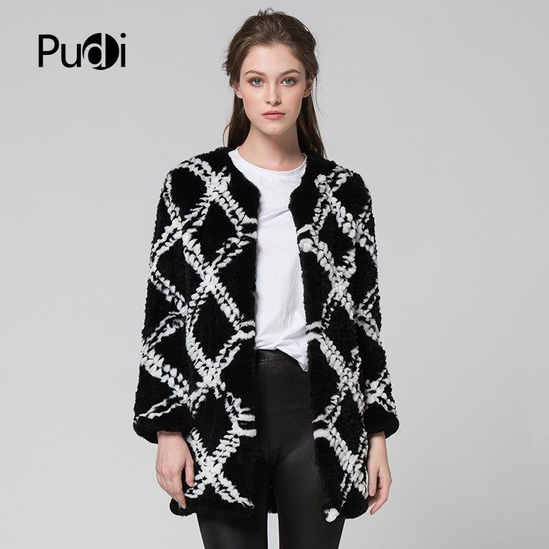 Kadın Giyim'ten Gerçek Kürk'de CR074 hakiki tavşan kürk ceket gerçek kürk örme örgü uzun tarzı ceket bayan kış sıcak artı boyutu özelleştirilmiş kürk dışarı giyim'da  Grup 1