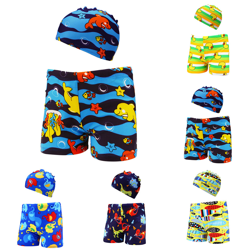 Home Able Telotuny Boys Swimming Trunks 2pcs Kids Baby Boys Stretch Beach Swimsuit Swimwear Trunks Shorts+hat Set #40
