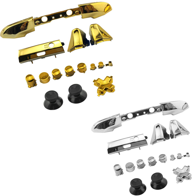 Chrome Plating Full Button Set Dpad RT LT RB LB ABXY Guide ON OFF Buttons For Xbox One Slim One S 1 S Controller Gamepad Repair