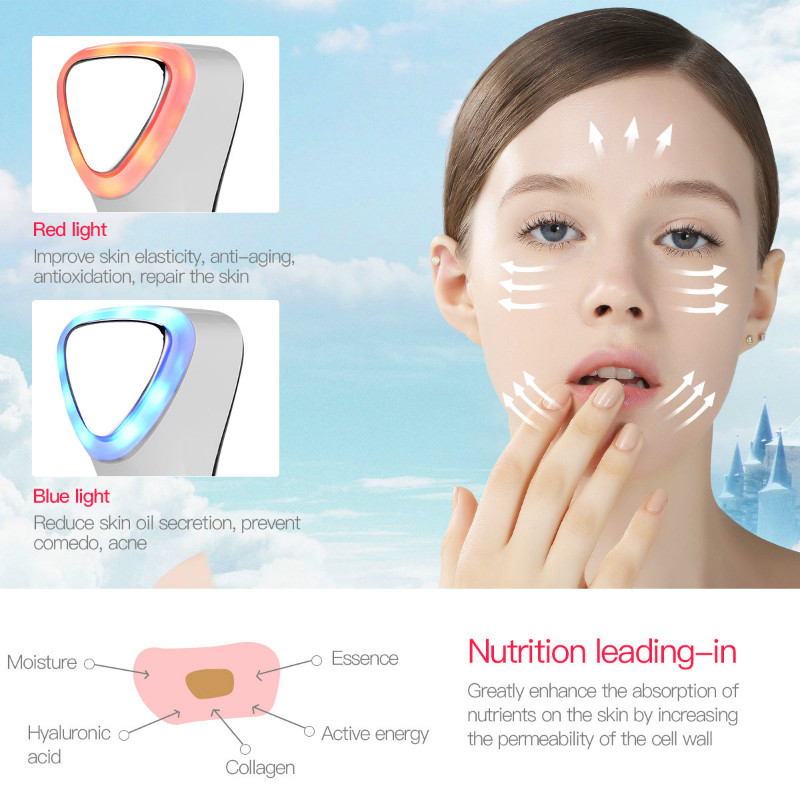 Ultrasonic Vibration Massager Cryotherapy Red Blue LED Light Hot Cold  Hammer Facial Lifting Anti-aging Repair Spa Beauty Machine