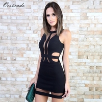 Ocstrade Summer Sexy Club Cut Out Dress 2017 Womens Hollow Out Black Bandage Dress Mesh Wholesale