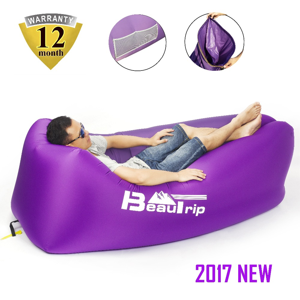 Outdoor Travel Air Lounge Chair Cushions With Headrest Pillow Home Inflatable Furniture Beach Sofa Pool Mattress Lounger Couch