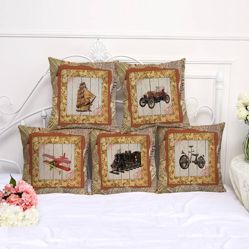 Decorative Pillow Case Retro Newspaper Boat Plain Train Pillowcase 17.5 Inches Cotton Linen Chair Seat Throw Pillow Cover T1011