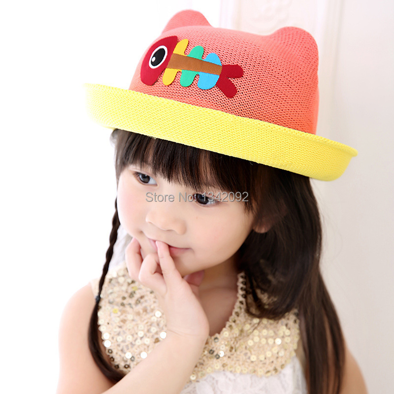 Girl's Hats Apparel Accessories New Fashion Cartoon Colorful Fish Design Children Sun Straw Hats Kids Summer Bucket Cap