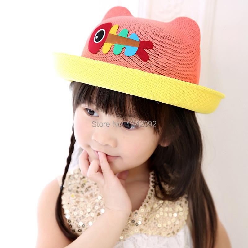 New Fashion Cartoon Colorful Fish Design Children Sun Straw Hats Kids Summer Bucket Cap Apparel Accessories Girl's Accessories