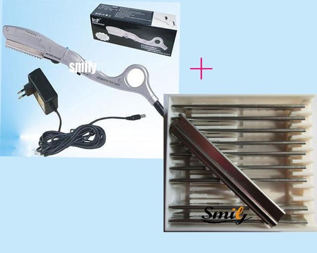 Free Shipping-1piece ultrasonic hot razor+1 box spare Razor Blades (10pcs), for hair cut  human hair extension salon use