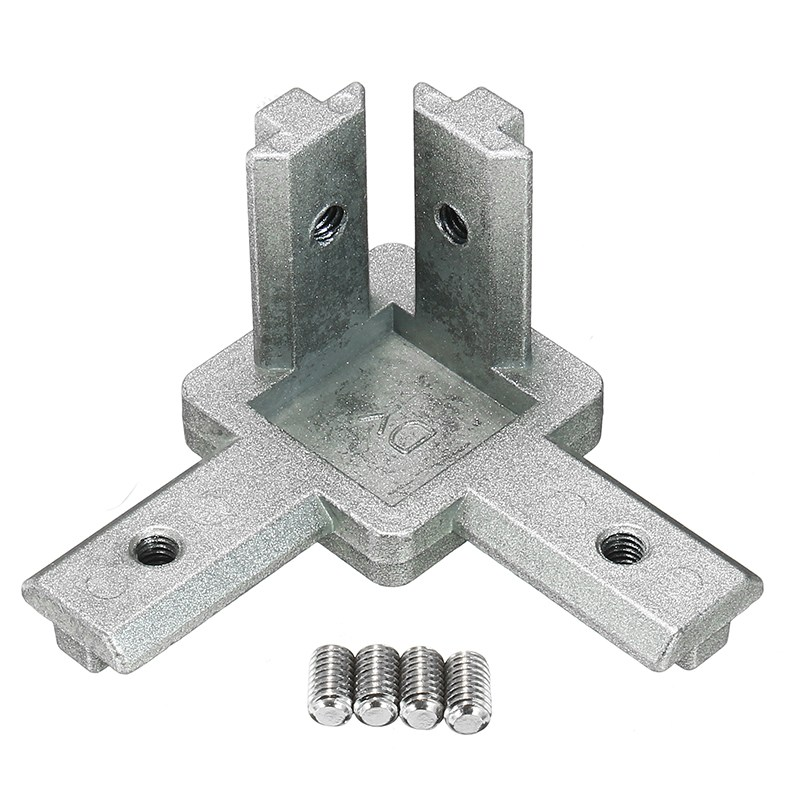 CJ40 T Slot 3 Way 90 Degree Inside Zinc Alloy Corner Connector Joint Bracket with Grub Screw for 4040 Seiers Aluminum Profile