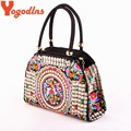 2017 New National Handbags trend embroidery bags Women double faced flower embroidered one shoulder messenger bags
