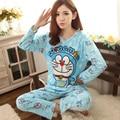 Осень Зима Девушки Мультфильм Губка Боб длинными рукавами Хлопок Пижамы множеств Doraemon женщины Пижамы Костюм пижамы Домашней одежды