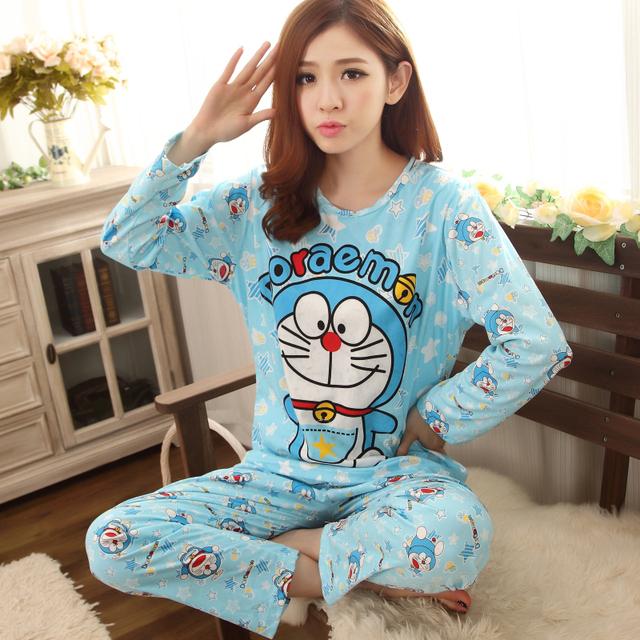 Inverno Meninas outono conjuntos de Pijama de mangas compridas de Algodão Dos Desenhos Animados Bob Esponja mulheres Doraemon Pijama Treino pijamas Home wear