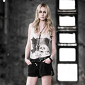 PUNK RAVE punk style white knitted tank tops with skull design T-349