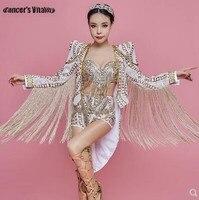 Rhinestone Bodysuit Sequin Dj Performance Costume Dance Stage Female Singer Clothing Three piece Bar Nightclub Sequin Dress