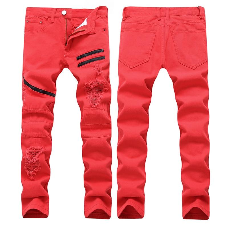 Plus Size Mens Hole Casual Pants Distressed Straight Zipper Slim Solid Jeans Streetwear Cotton Hip Hop Denim Trousers Homme