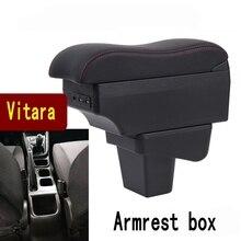 Dla Suzuki VITARA podłokietnik ze schowkiem wewnętrzny podłokietnik samochodowy dwuwarstwowy akumulator USB