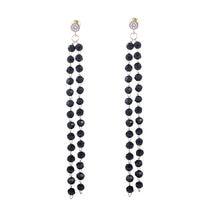 Женские длинные серьги капельки с черными кристаллами модные