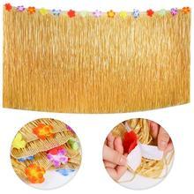 9 Feet Hawaiian Table Skirt Palm Leaves Flowers Multicolored Umbrellas 3D Fruit Straws for Luau Party