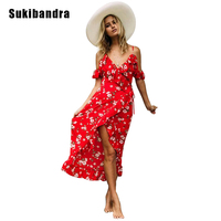 Sukibandra Red Floral Print Ruffle Sleeve Spaghetti Strap Slip Long Maxi Dress Summer Women Beach Lace