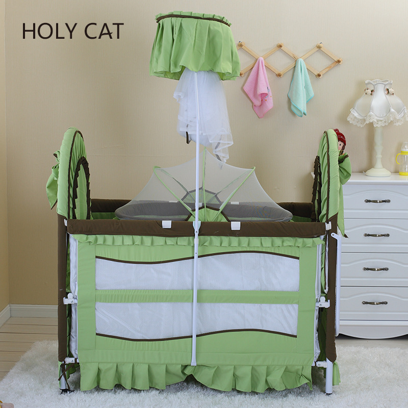 Holycat Korean Fabric Environmental Protection Baby Iron Bed, Children Bb Bed Extended Cradle Dc-2016