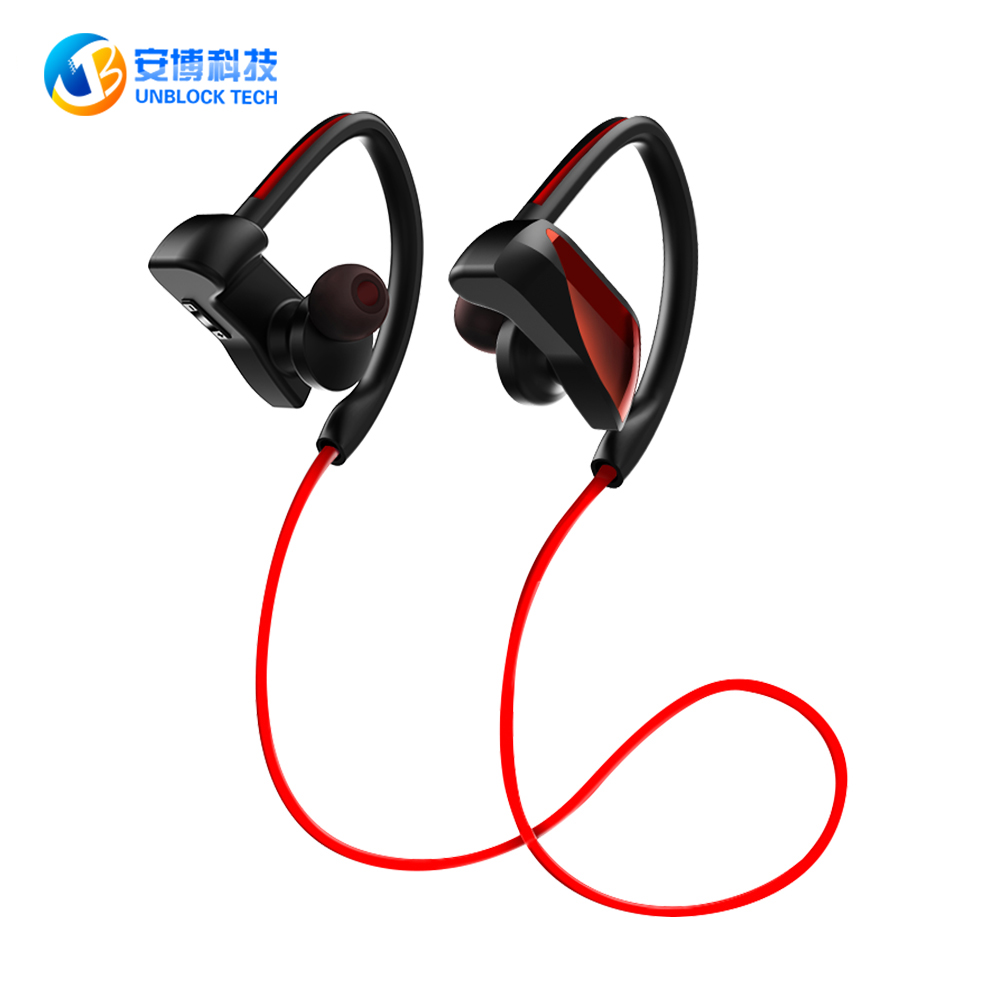 UNBLOCK TECH Bluetooth Earphone Sports Ear Hook Headphone Waterproof Level IPX7 Magnetic With Mic Earphone For Mobile Phone