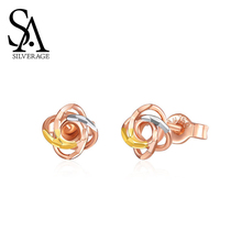 SA SILVERAGE 18K Rose Gold Stud Earrings for Women Rose Earrings Plant Gold Stud Earrings New Trendy Hollow Fashion Simple Style
