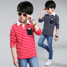 Boy Striped T-shirt Children Boy Kid Clothes Autumn Cotton Stripe Long Sleeve T shirt Tops Blouse Lapel
