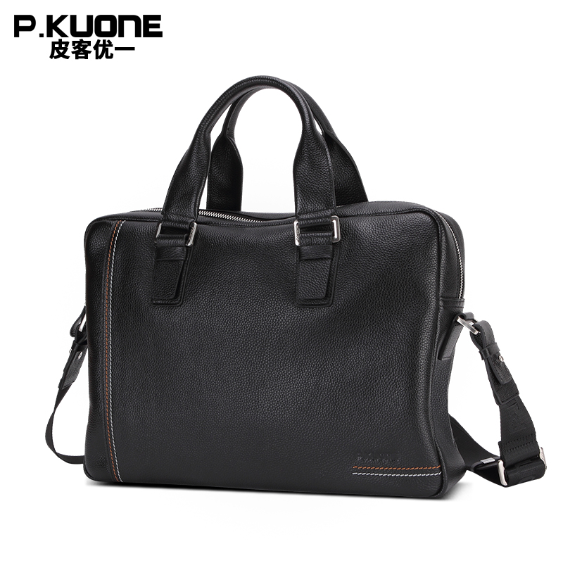 P.KUONE Genuine Leather Man Fashion Briefcase Business Male Shoulder Bag Casual Luxury Brand Travel Handbag Designer Laptop Bag