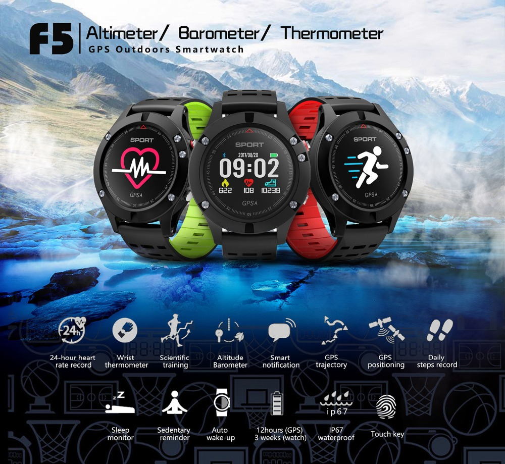 JAYSDAREL Smart Watch NO.1 F5 Heart Rate Monitor GPS Multi-Sport Mode OLED Altimeter Bluetooth Fitness Tracker for Android iOS