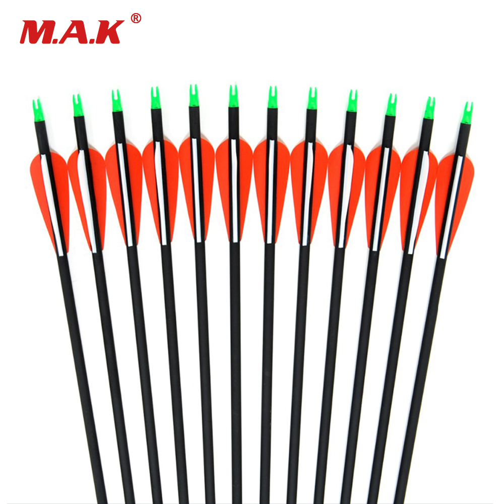 Carbon Arrow 12 pcs 30 Inches Spine 500 Changeable Arrowheads Plastic Feathers for Compound Bow Archery Hunting Shooting 6 12 24pcs archery arrows spine 250 pure carbon arrow 32 inches od 7 8mm with replaceable arrowheads for compound bow shooting