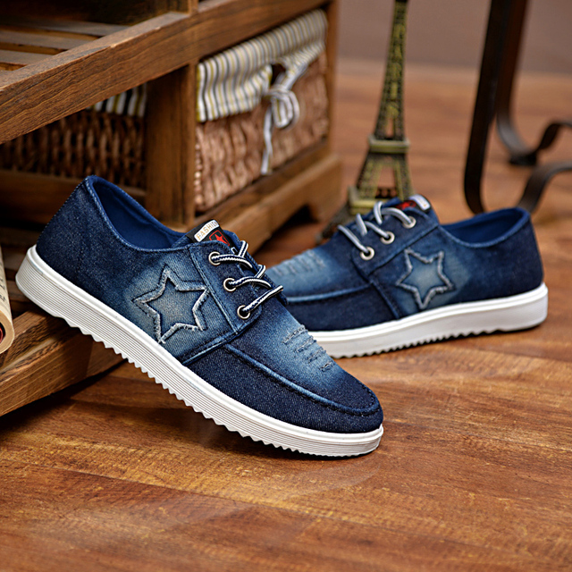 Pisos de Los Hombres 2016 de Los Hombres de Moda Zapatos Casuales de Mezclilla Zapatos de Lona Atan para Arriba Transpirable Hombres Zapatos Casuales Hombre