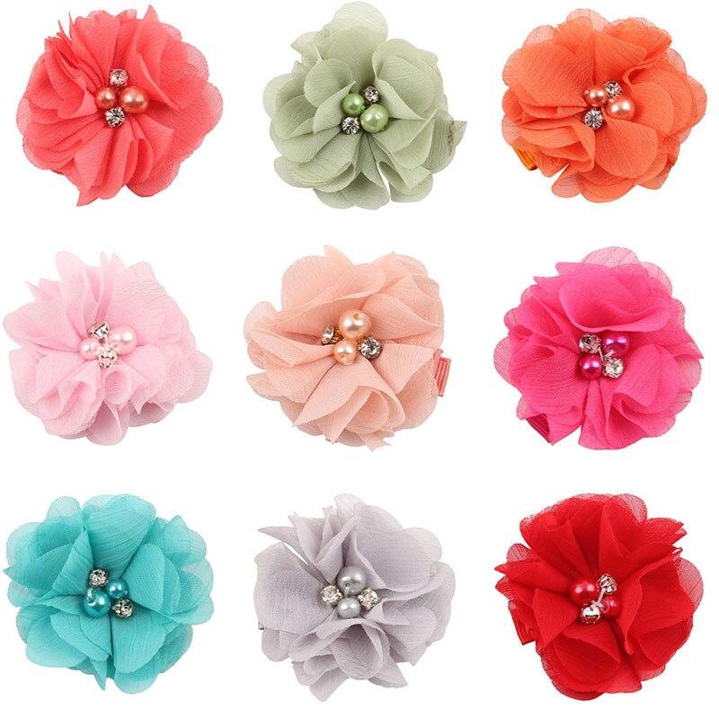 Girls Hair Solid Rose Flower Children Hair Accessories Infant Hairpins Baby TOP