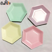 Wedding-Party Tableware Dishes Paper-Plates Pastel Mint-Teal Hexagonal Birthday Pink