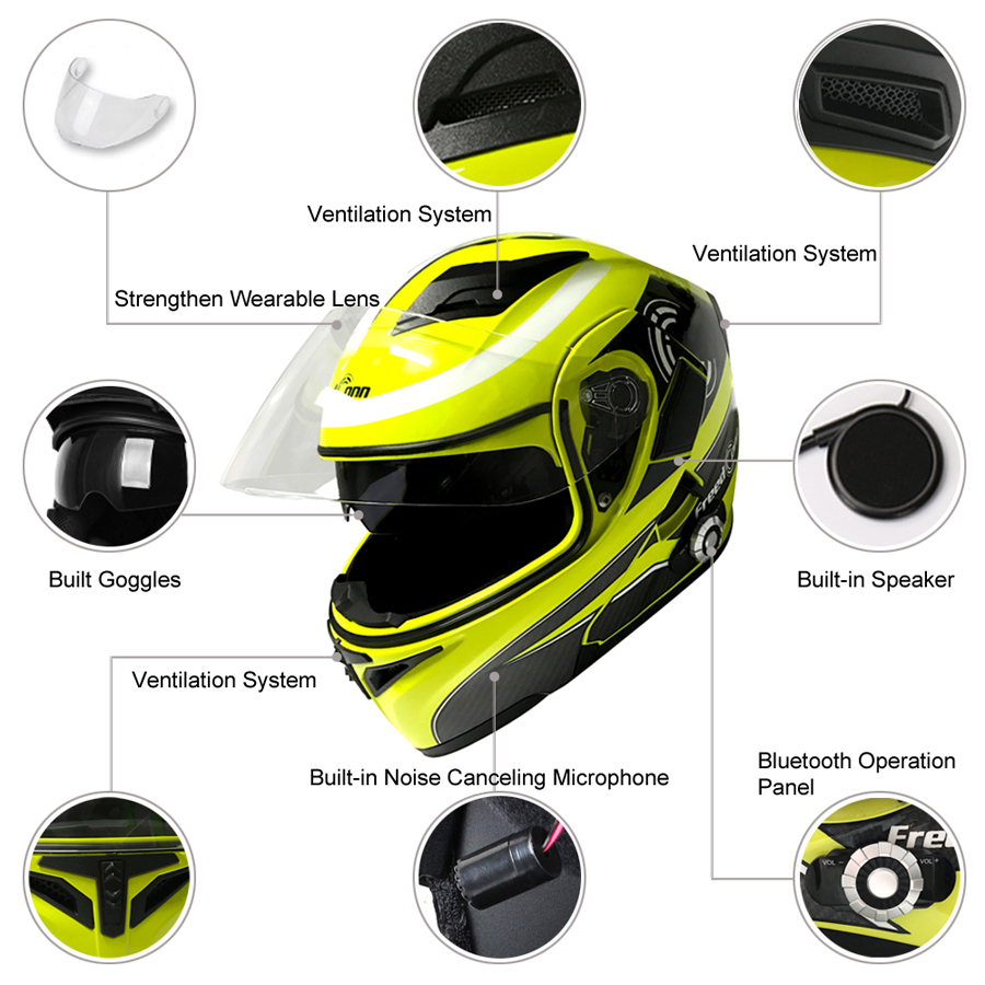 2017 Nowy Motocykl Bluetooth Kask Z Obrotem Motocykl Zbudowany w - Akcesoria motocyklowe i części - Zdjęcie 2