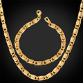 Мужская мода Ювелирные Изделия Из Желтого Золота Цепи Ожерелье Браслет Модный Партия Позолоченные 6 ММ 55 СМ Ожерелье Ювелирные Наборы NH750