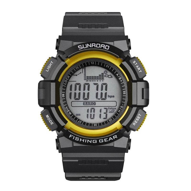 SUNROAD Waterproof Fishing Sports Barometer Altimeter  Men Watch Outdoor Watches Weather Forecasting Yellow hombre Clock Digital штатив harper rsb 105 pink