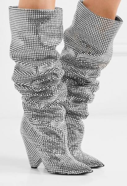 Photo La Botas Piedras Rodilla As Blingbling Spike Photo Nueva as Encargo Dama Moda De Chunky Plata Alto Real Diamantes Fotos Tacón Por qv1tv