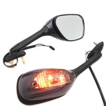 For Motorcycle 2005-2012 Suzuki GSX-R GSXR 1000 CARBON SMOKE Integrated Turn Signal Mirrors