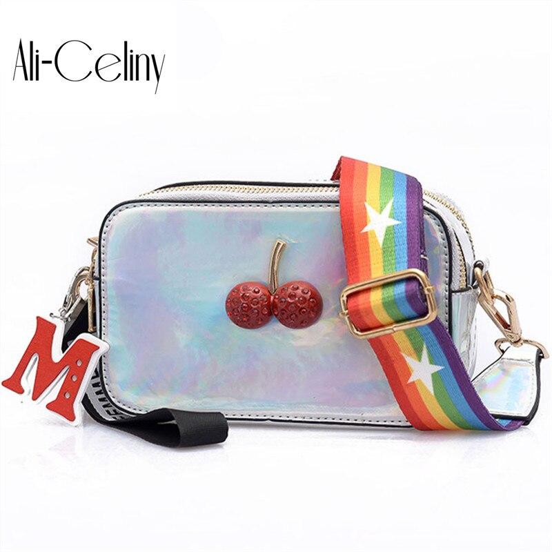 2018 Cherry Laser Rainbow shoulder strap Chain Lady Flap Women Shoulder Bag Fashion Woman Messenger Crossbody Bag