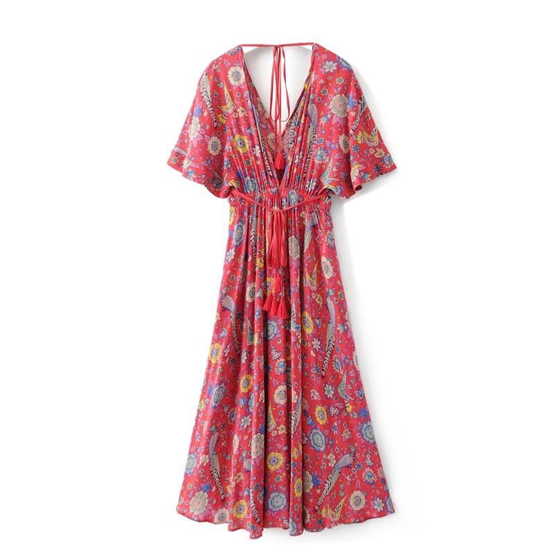 Women's Clothing Vintage Chic Women Floral Print Bat Sleeve Beach Long Bohemian Maxi Dress Ladies Cross V Neck Sashes Boho Dress