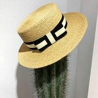 2019 New Women Summer Beach Raffia Denim Blue Ribbon Hat Raffia Flat Cap Temperament Flat Straw Hats Women's Sea Beach Hat