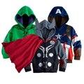 2016 nova marca meninos avengers crianças jaquetas e casacos casacos crianças super hero capitão américa jaquetas roupas crianças