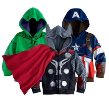 2017 New Brand Boys Avengers kids jackets and coats Outerwear kids Super hero captain america jackets