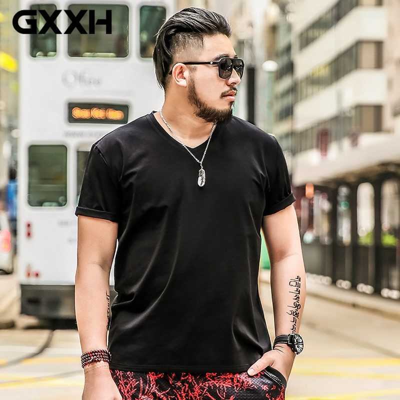 Футболка размер плюс мужской 5XL негабаритная Футболка мужская однотонная хлопковая футболка с короткими рукавами и v-образным вырезом летняя футболка белая большая 6XL 7XL высокая