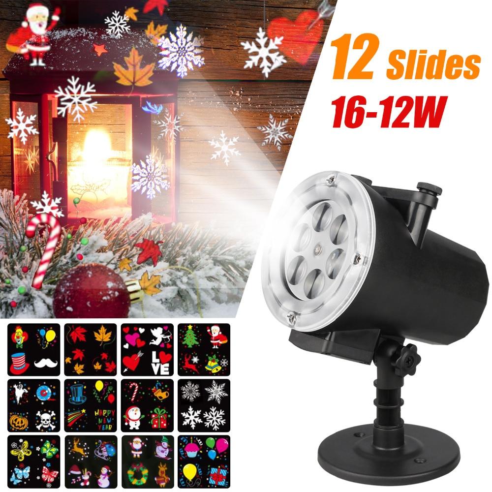 цена Mini Slides Pattern Waterproof Projector LED Home Entertainment Light Holiday Christmas Outdoor Snowflakes Landscape Lights онлайн в 2017 году