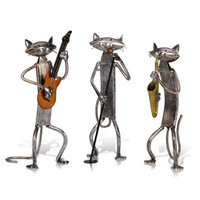 European Style Simulation Abstraction Band Cat Iron Art Metal Figurine Craftwork Living Room Decor Accessories X1354