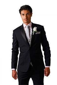 Classic Mens Suits Groomsmen Notch Lapel Groom Tuxedos Black Strips Wedding Best Man Suit (Jacket+Pants+Tie+Vest) A68