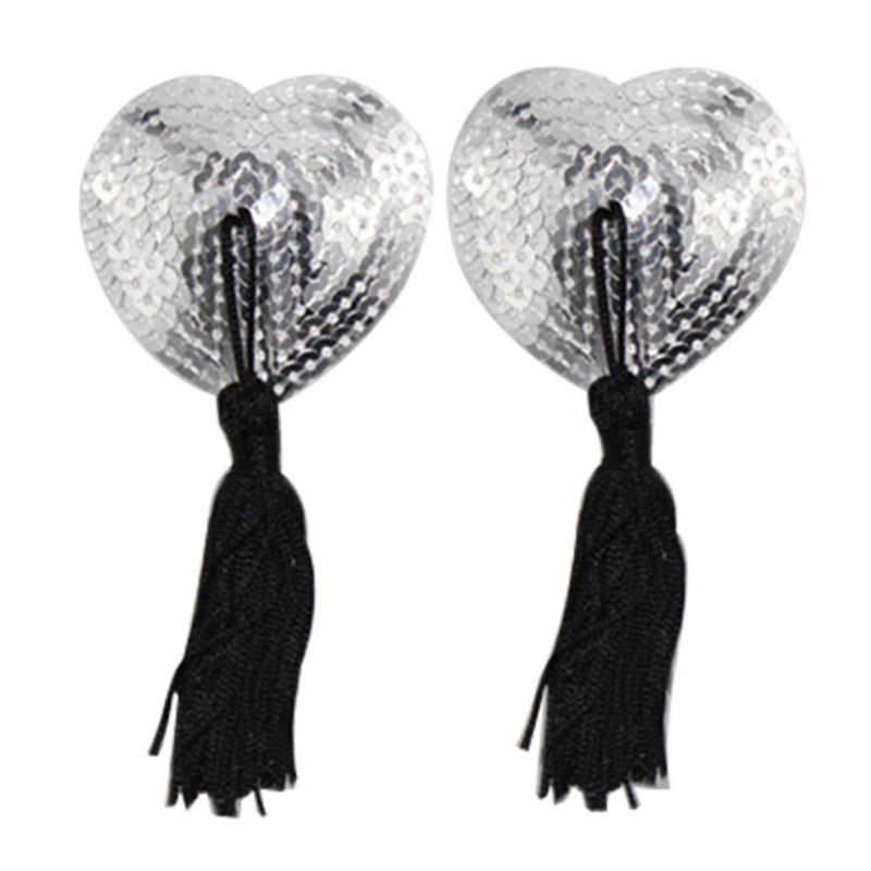 1 par pezoneras sexy pegatinas de las mujeres ropa interior de borla de lentejuelas de sujetador de pezones cubierta de pezón con forma de corazón pegatinas empanadas